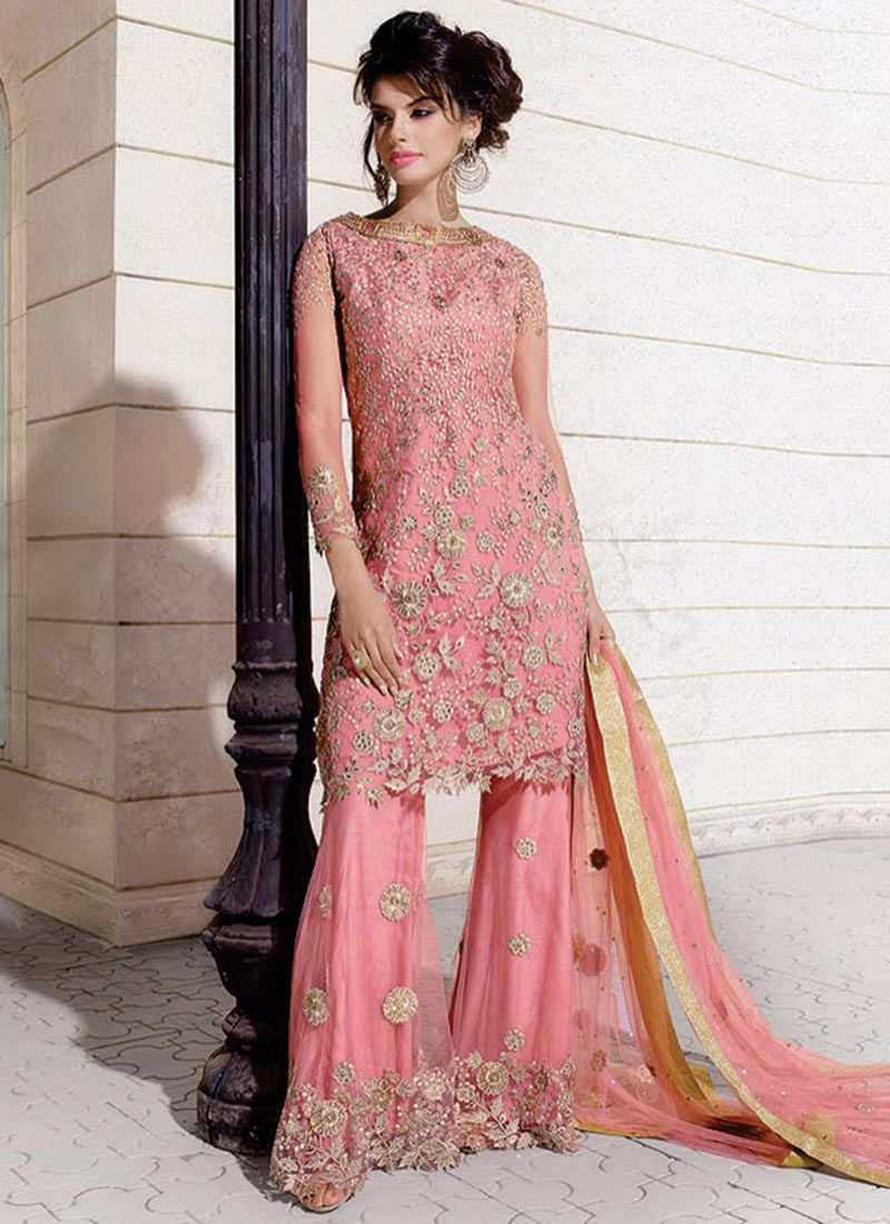 Pink Georgette Palazzo Suit | Indian clothes I like | Pinterest