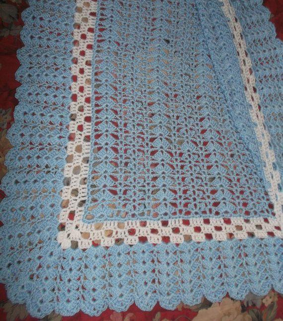 Punto azul y blanco bebé afgano (bk127) | Puntos azules, Bebé y Azul