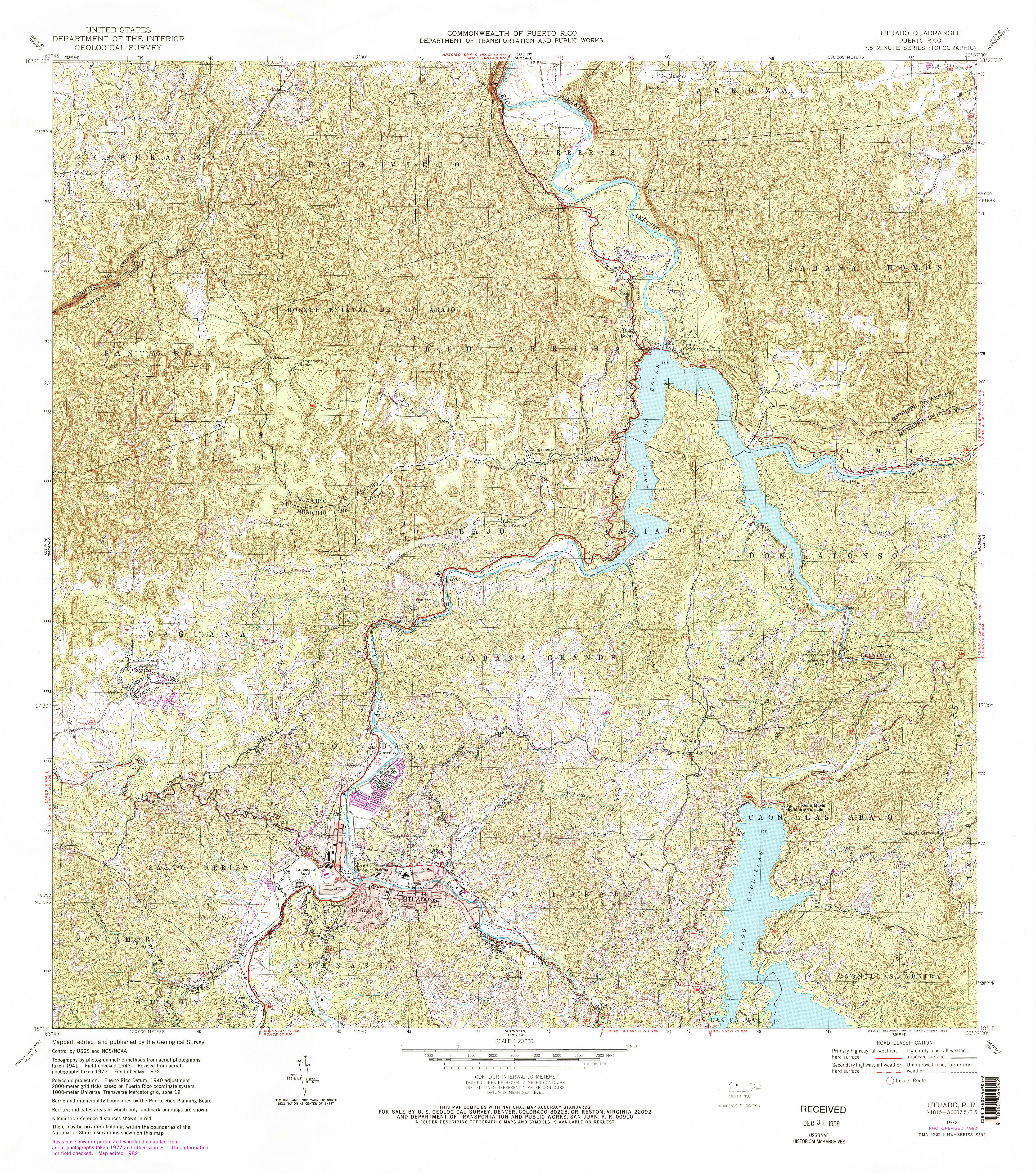 Utuado PR Map From The USGS Historical Topographic Map - Florida topographic map free