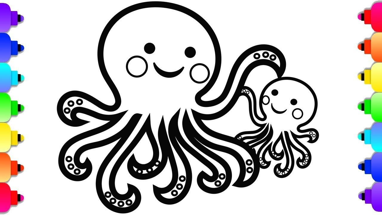Glitter Octopus Daddy And Baby Coloring And Drawing For Kids