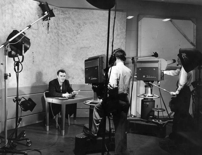 Early days of TV 1950's era news broadcast by WDAF's first