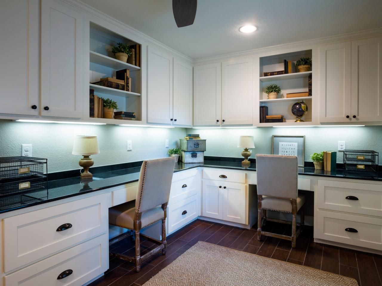 Hgtv fixer upper galley kitchen - Designers Chip And Joanna Gaines Wanted This Home Office To Have A Similar Style To The Home S Kitchen With White Cabinets And A Black