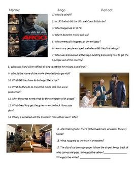 Argo Movie Guide Answer Key Movie Guide Teaching American History Survivor Quotes