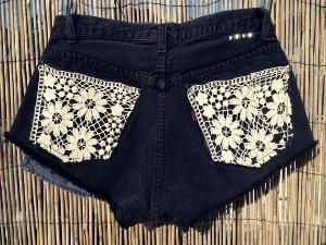 lace jean shorts style