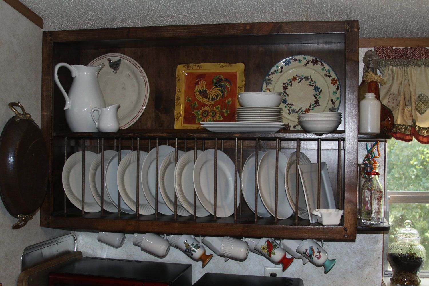 Decorating Ideas Amazing Wooden Plate Rack Wall Mounted Custom Kitchen Cabinet Open Shelves Along With & Decorating Ideas Amazing Wooden Plate Rack Wall Mounted Custom ...