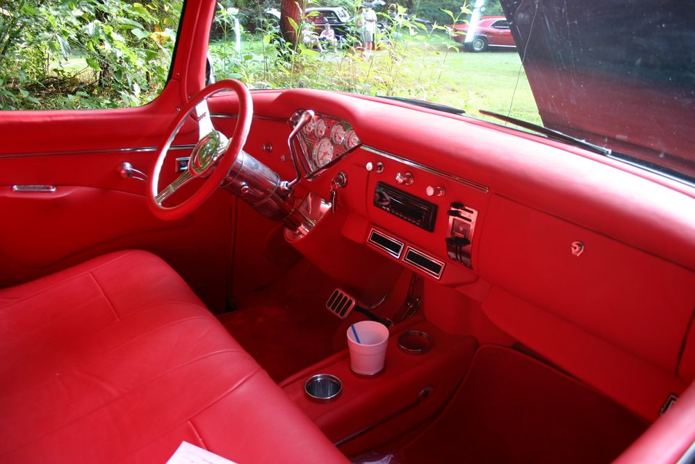 Red Leather Interior 57 Chevy Trucks Truck Interior Chevy Pickups
