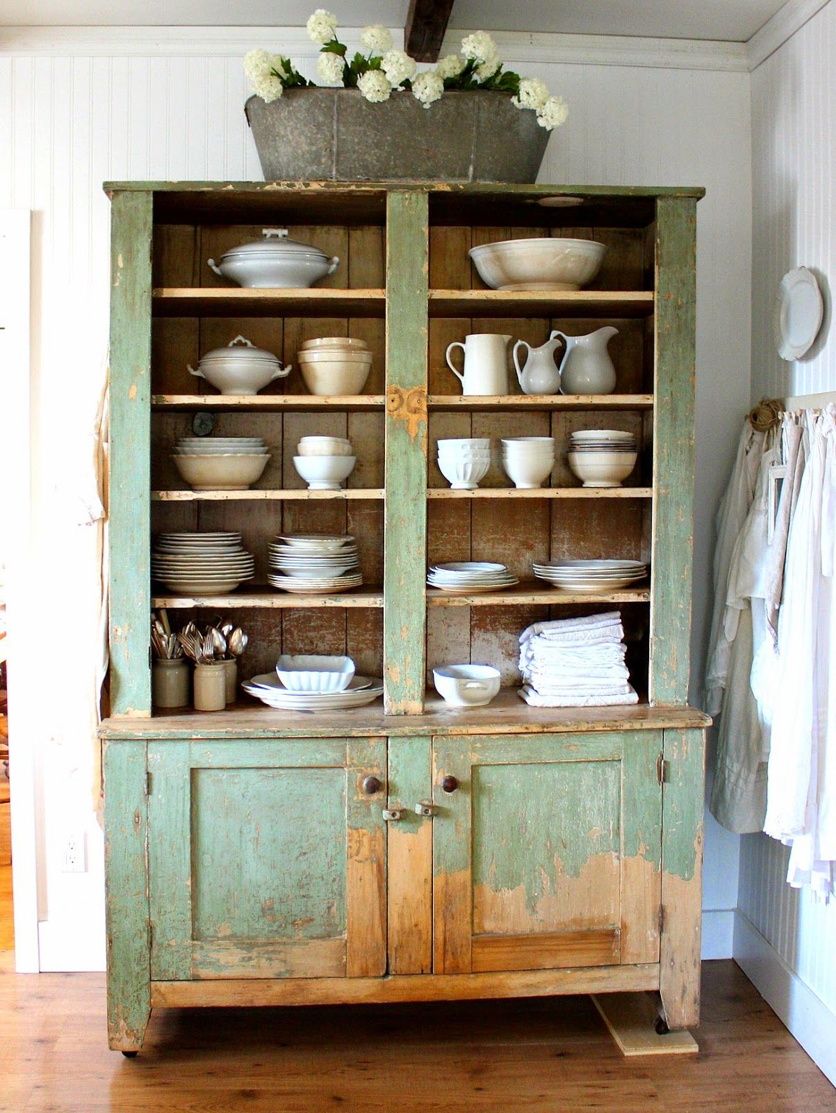 The Story Of A Cupboard Rustic Farmhouse Green Painted