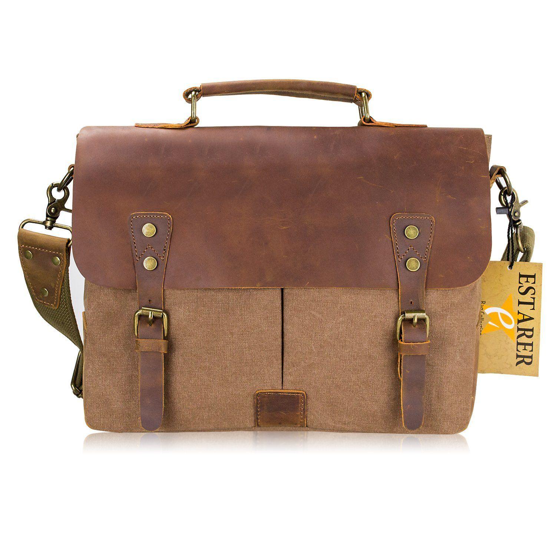 Brown Genda 2Archer Men Briefcase Leather Small Shoulder Satchel Bag