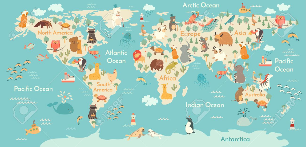 65979815 animali mappa del mondo illustrazione vettoriale in et animals world map world map for childrenkids gumiabroncs Gallery