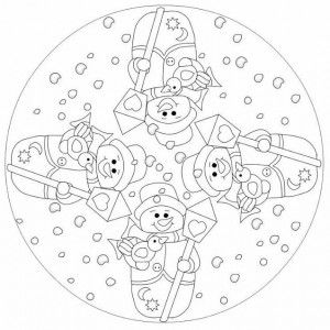 snowman mandala coloring page 2 - Coloring Pages Snowman 2