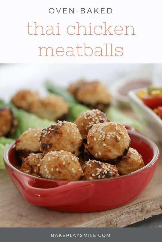 Oven Baked Thai Chicken Meatballs | Recipe | Thai chicken ...