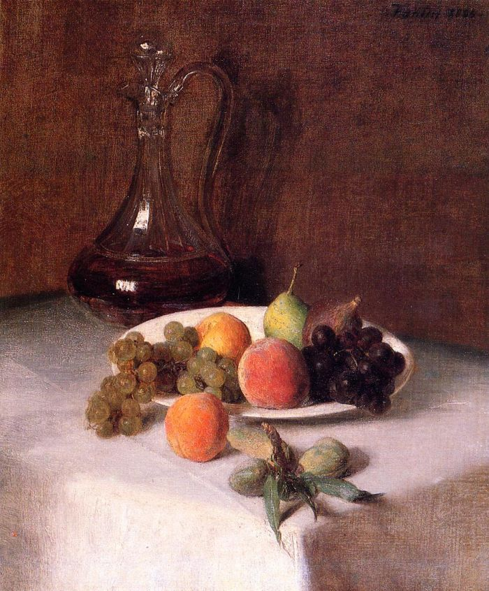 A Carafe of Wine and Plate of Fruit on a White Tablecloth by Henri Fantin-Latour #art