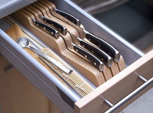 Wusthof in drawer knife organiser in Beech- Holds up to 7 Knives - nolte küchen schubladeneinsatz