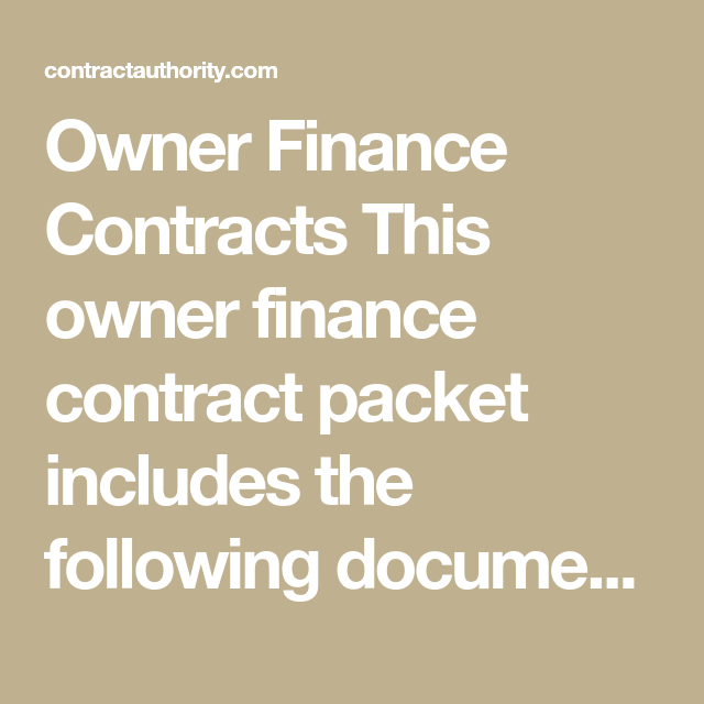Owner Finance Contracts This Owner Finance Contract Packet
