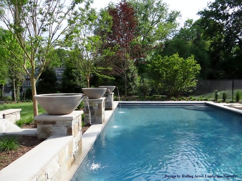 pebble sheen blue granite chevy chase md water bowl water features rectangle poolblue - Rectangle Pool With Water Feature
