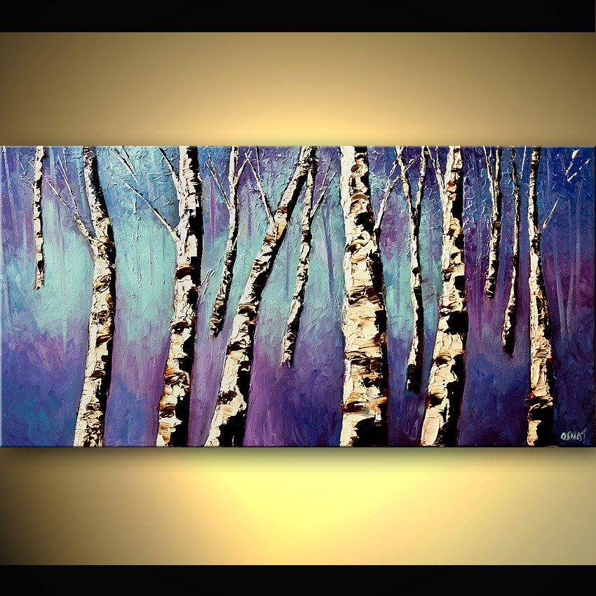 original birch tree painting on canvas purple blue paint