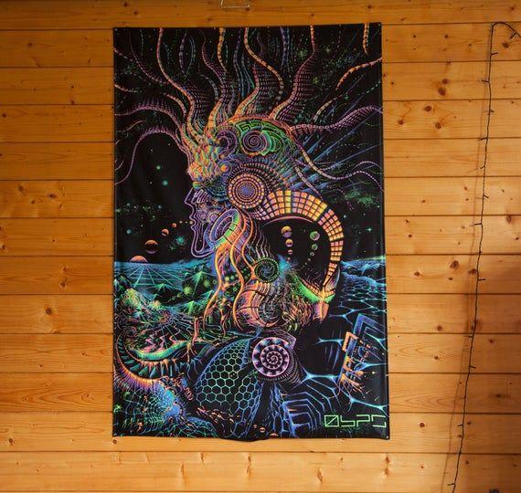 FLUORO-RUNNER Tapestry, Blackligt Active Fluorescent Glow