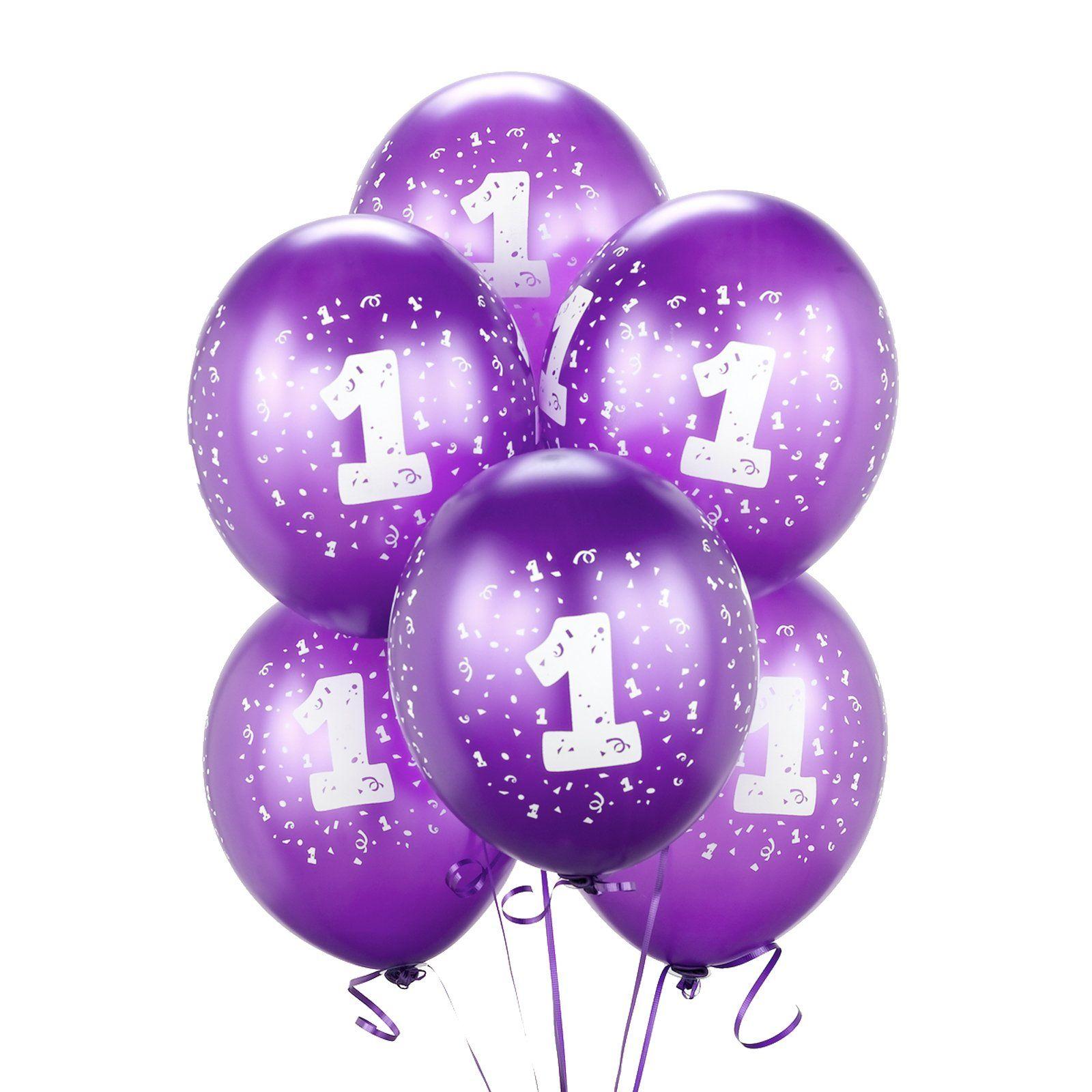 Purple 1st Birthday Pk6 Party Balloons