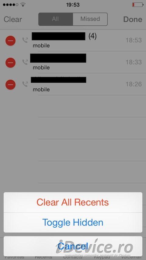 HiddenCallLog7 permite ascunderea apelurilor din aplicatia Settings