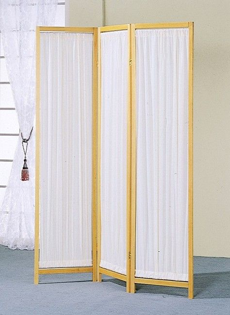 3 Panels Wood Frame & Pleated Fabric Insert Room Screen/Divider ...