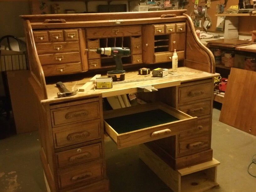Jeweler S Bench Made From An Old Roll Top Desk So Many Small Storage Compartments Roll Top Slides D Jewelers Workbench Shop Organisation Woodworking Supplies