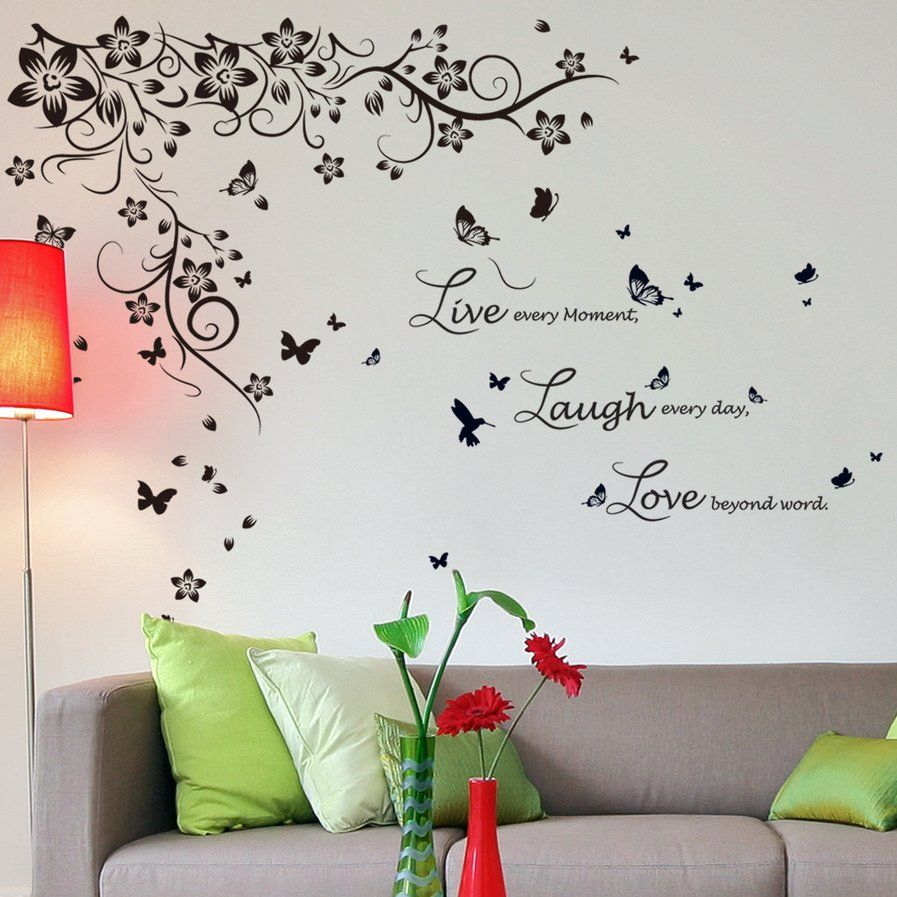 New Huge Butterfly Vine And Live Laugh Love Wall Decal