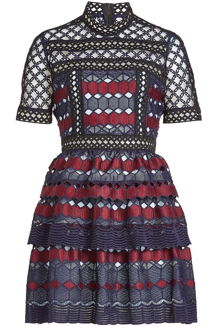 40d96a59a3f3e Short Lace Dress, Navy Blue Short Dress, High Neck Lace Dress, Navy Blue