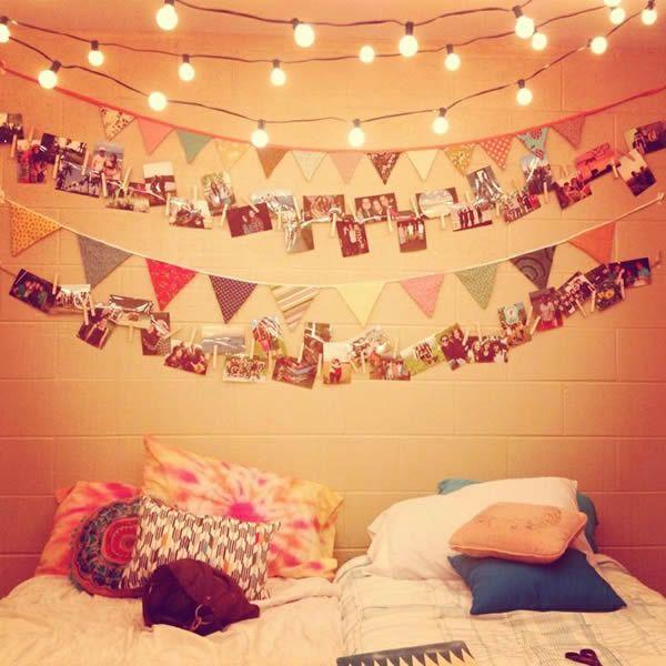 Decoraci n de dormitorios con fotos y luces de navidad - Habitaciones con luces ...