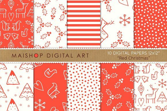 Digital Paper Red Christmas By Maishop On Creativemarket