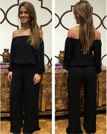 OFF THE SHOULDER JUMPSUIT WITH CROCHET SLEEVES BLACK $68- CALL SPLASH TO ORDER 314-721-6442