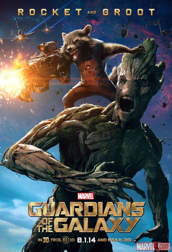 "Marvel's ""Guardians of the Galaxy"" Rocket & Groot character poster. In U.S. theaters August 1!"