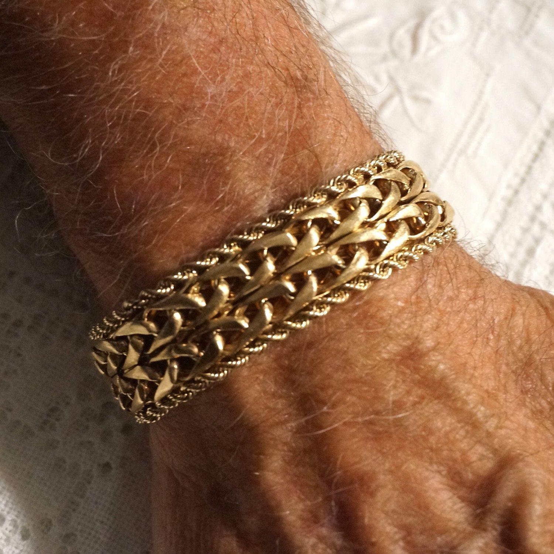 Heavy vintage mens solid 14k gold wide band rope link