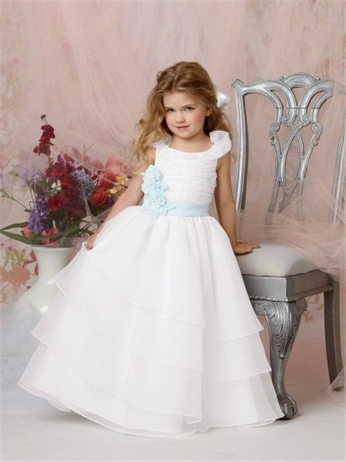 fdca7081c44 Ball Gown Scoop Floor Length White Organza Flower Girl Dress with Flowers  Sash
