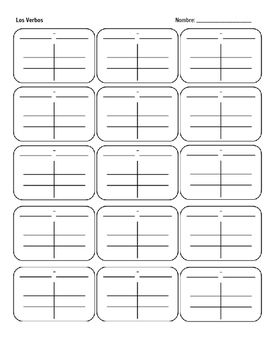 picture about Spanish Verb Conjugation Chart Printable called Spanish Verb Charts - Blank Mi Clase! Spanish