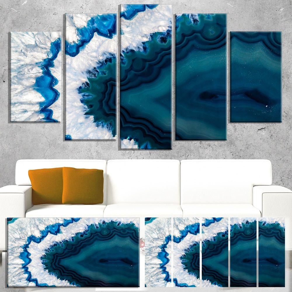 Designart ublue brazilian geodeu abstract canvas wall art print