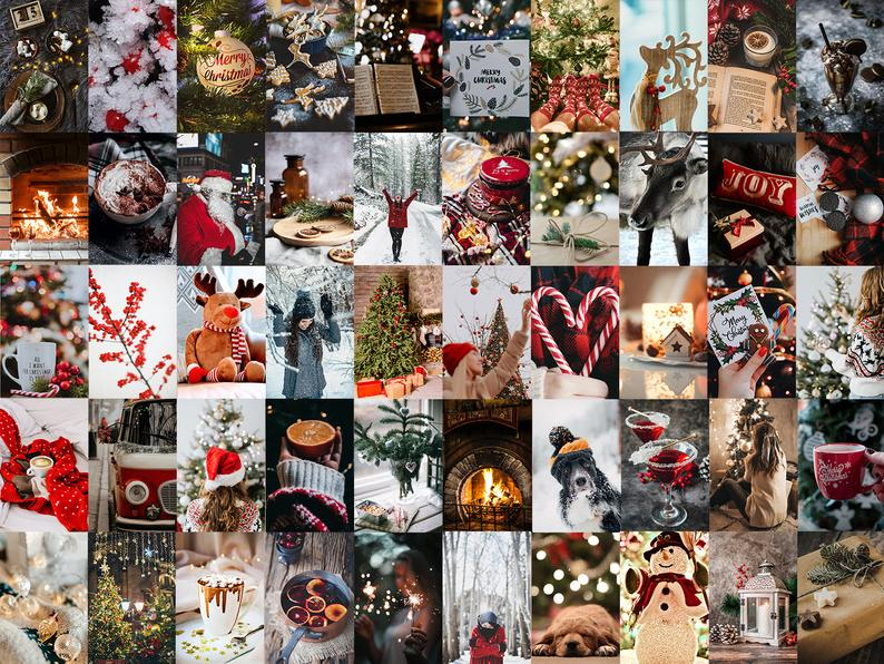 Christmas Aesthetic Wall Collage Kit 50pcs Digital Download Etsy Christmas Collage Wallpaper Iphone Christmas Christmas Wallpaper