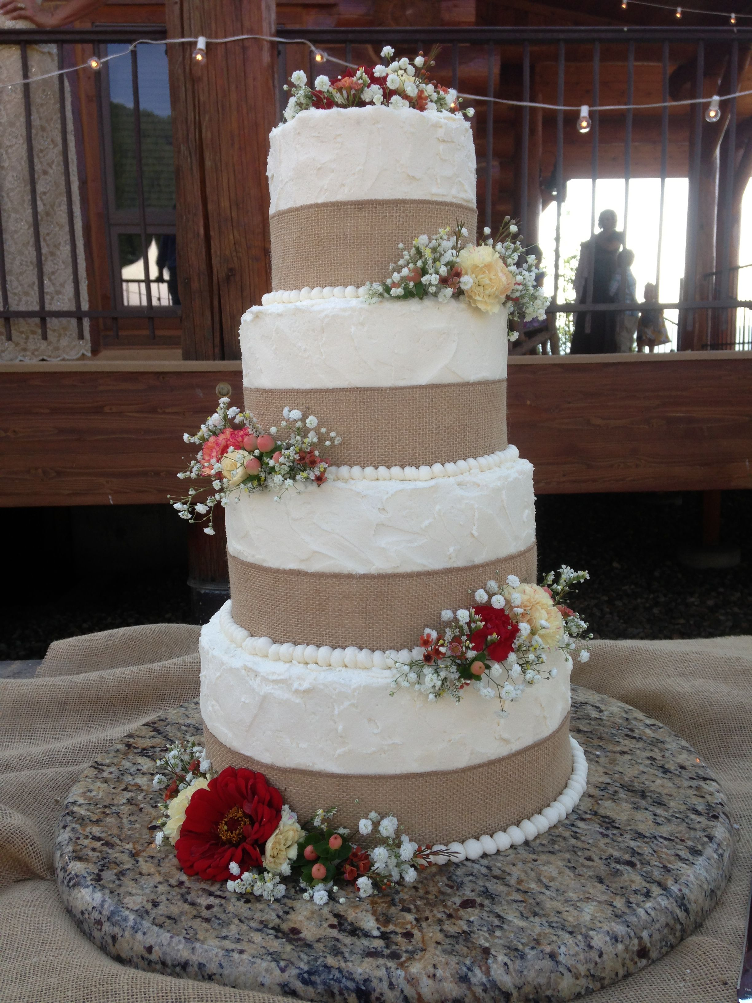 Rustic Country Wedding Cake With Burlap Ribbon Cakes