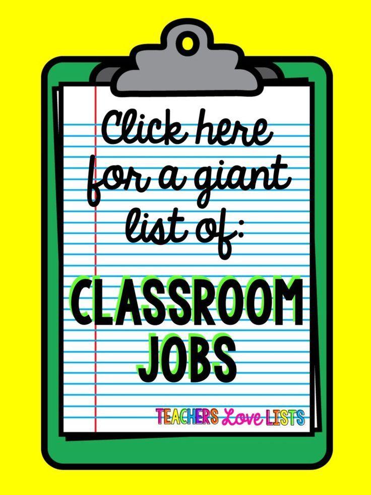 Classroom Job Ideas 1st Grade ~ Classroom jobs list of pretty much every kindergarten