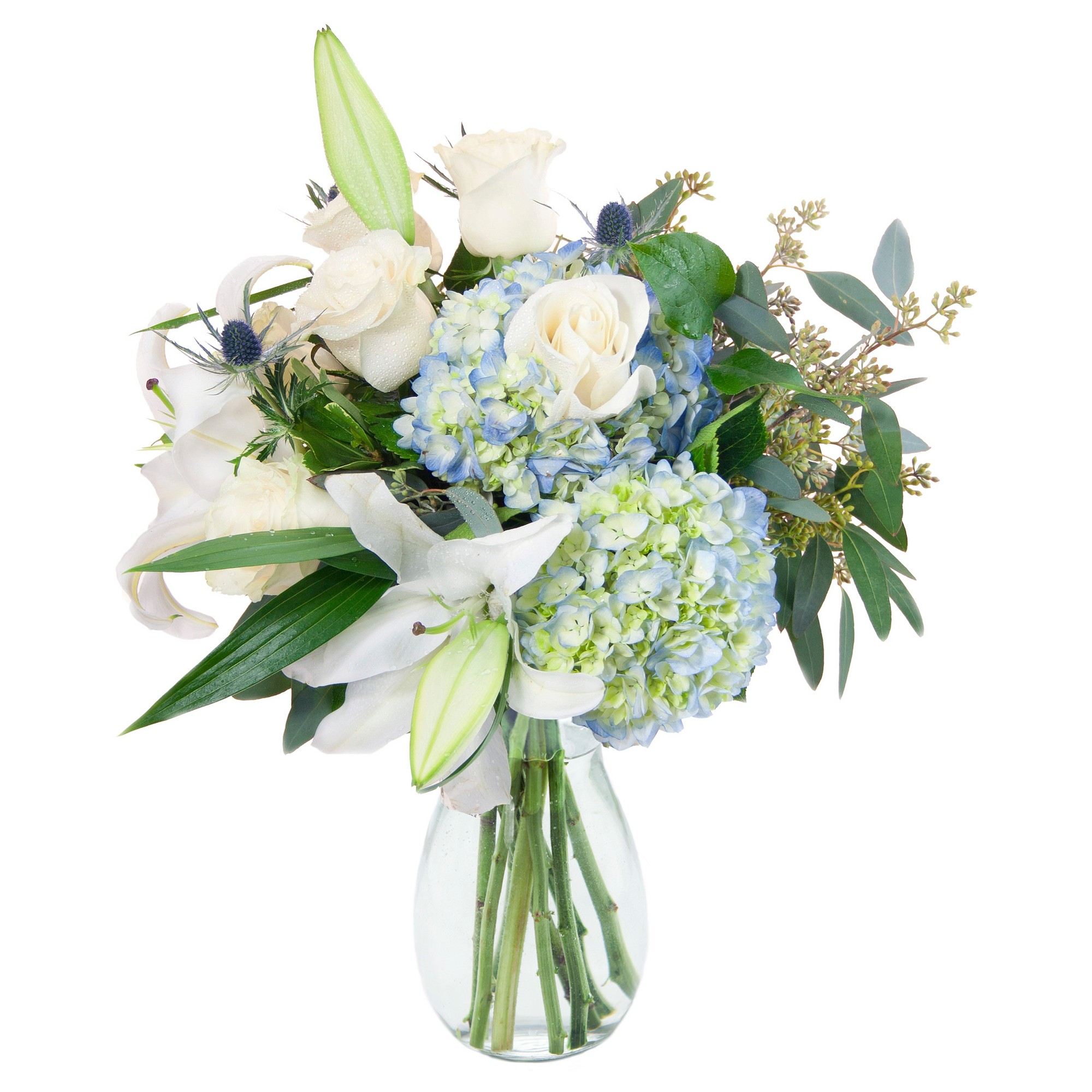 Kabloom Over The Moon Lily And Hydrangea Fresh Flower Arrangement