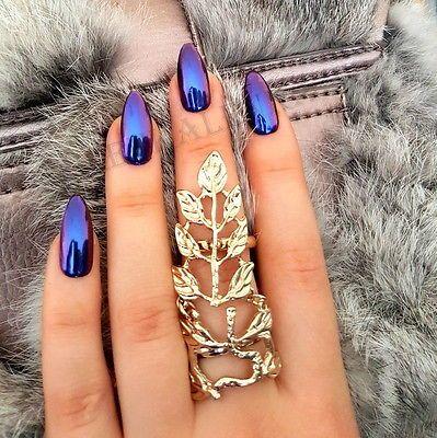 Mirror powder chrome effect art nail pigment holo blue purple silver - uas efecto espejo