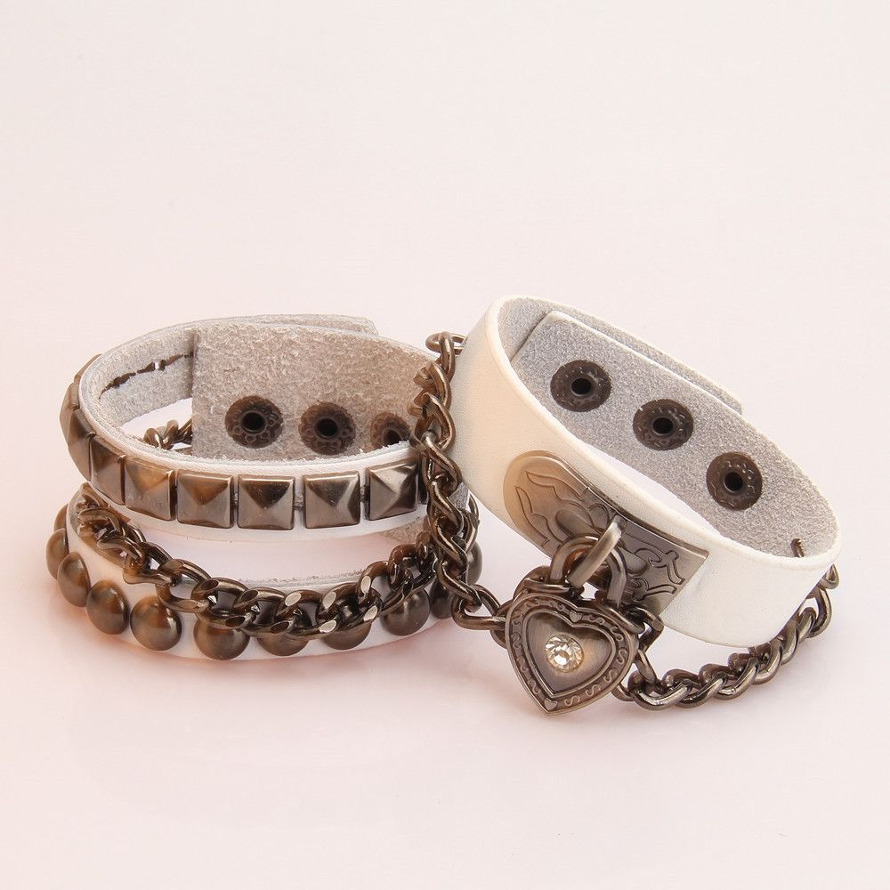 White stainless steel couple love zircons bracelets jewelry for cool