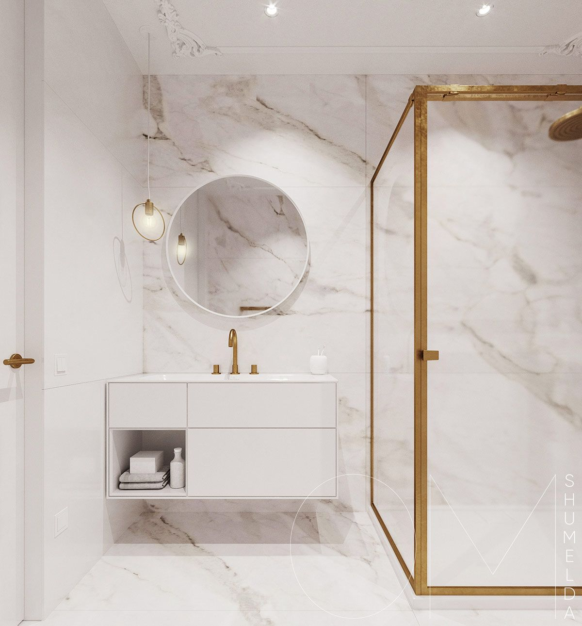3 Luxe Home Interiors With White Marble Gold Accents In 2020