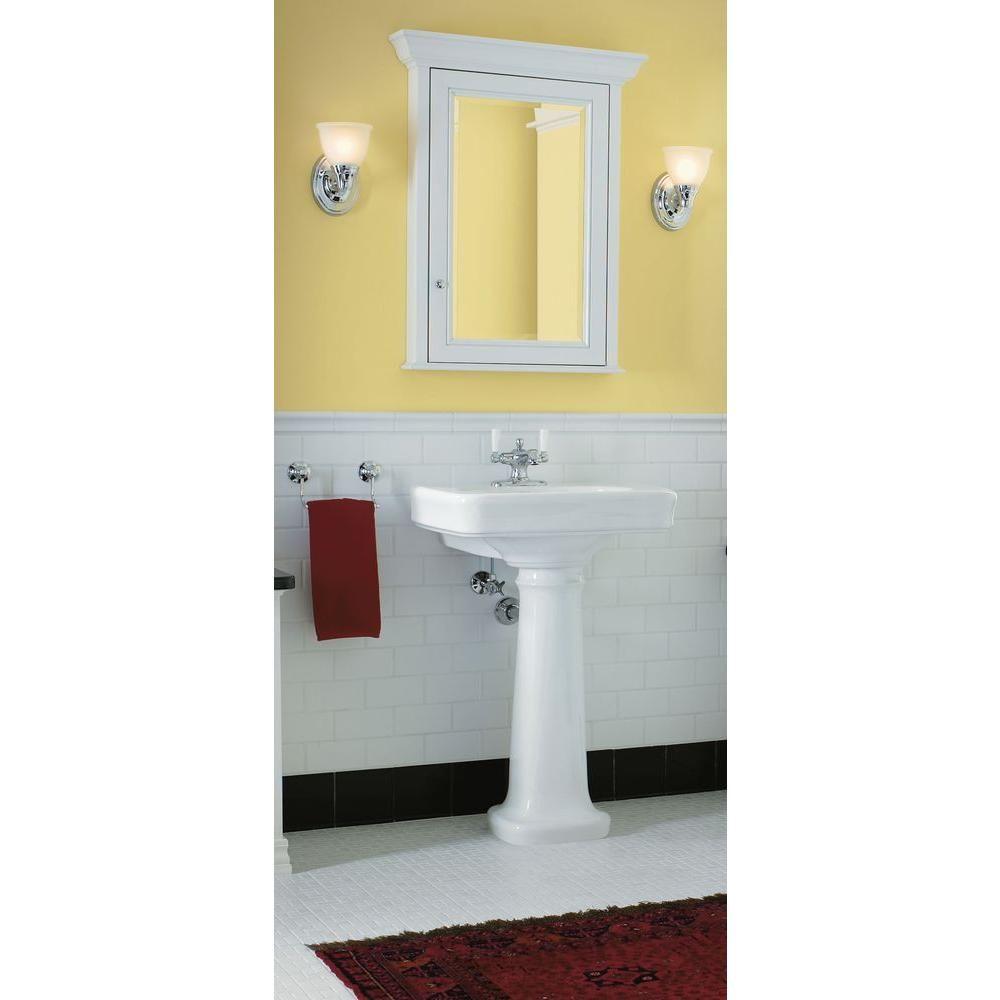 Kohler Bancroft Vitreous China Pedestal Bathroom Sink Combo In White With Overflow Drain K 2338 8 0 The Home Depot Bathroom Design