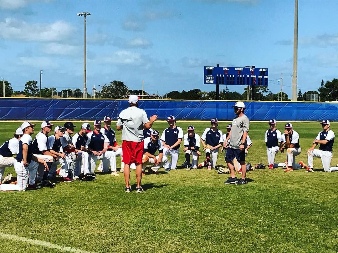 Golaspartans Varsity Baseball Getting Their Postgame Speech From Coach Margraf After A Scrimmage With Brother S Christian Academy Varsity Coach Soccer Field