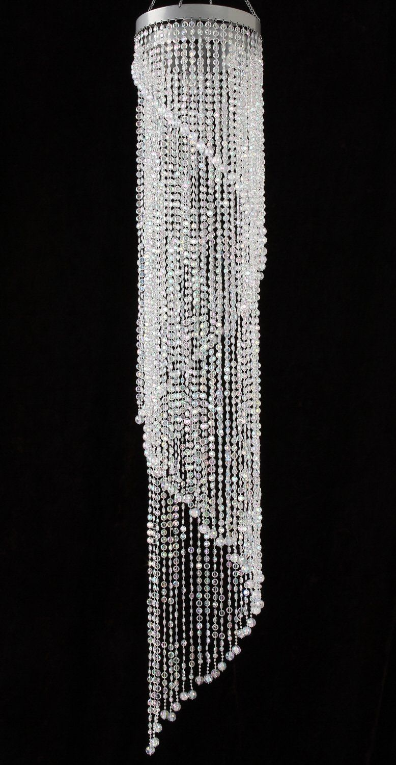 Chandelier Spiral Faux Crystal Beaded Hanging Light Great Idea For Wedding Chandeliers Centerpieces Decorations And Any