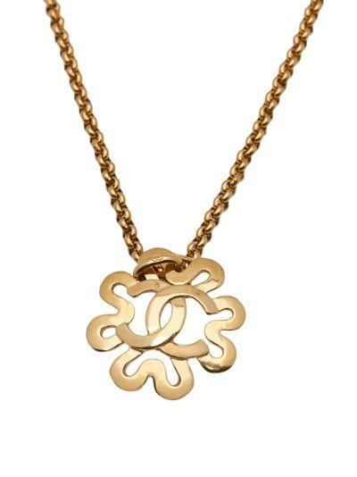 CHANEL VINTAGE 95 logo flower necklace