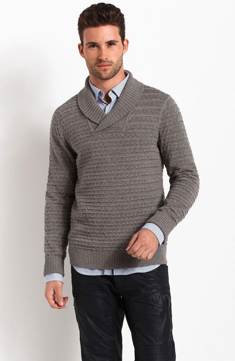 Shawl Collar Sweater - Sweaters - Mens - Armani Exchange | Fashion ...