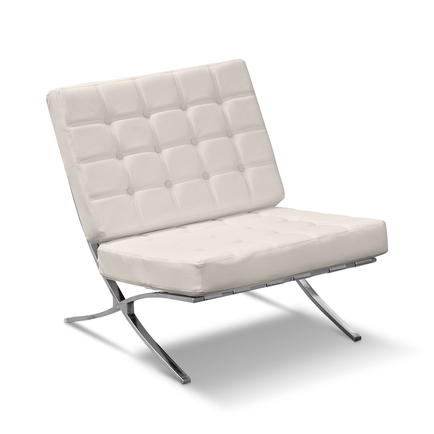 Modern White Faux Leather Accent Chairs With Stainless Steel Cross X Base  Legs For Minimalist Home Furnishing Ideas