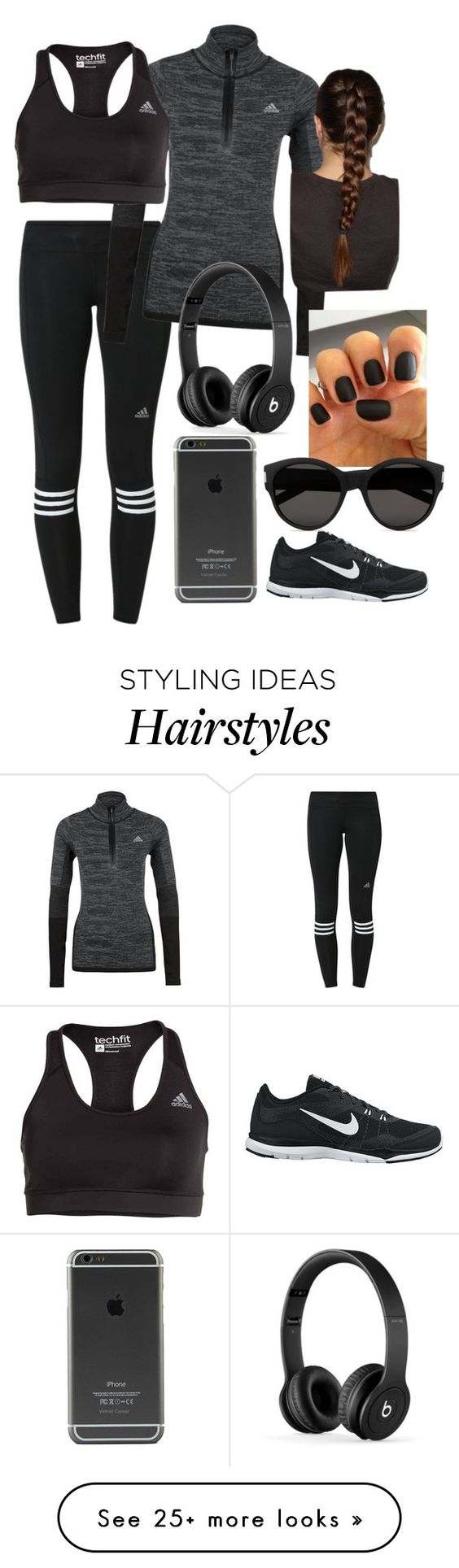 """""""workout"""" by anayaperna on Polyvore featuring adidas, Beats by Dr. Dre, NIKE and Yves Saint Laurent:"""
