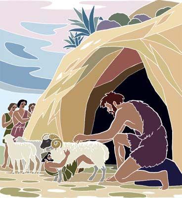 Ο Οδυσσέας και οι σύντροφοί του βγαίνουν από τη σπηλιά κρυμμένοι κάτω από τα πρόβατα.